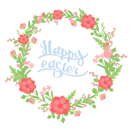Wreath of flowers for the spring holiday of Easter with the inscription Vector