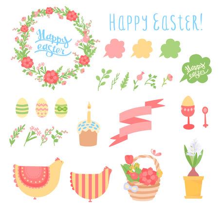 an easter cake: Happy Easter vector set - eggs, flowers, ribbon, flower, easter cake, chicken, wreath, calligraphic inscription, etc.