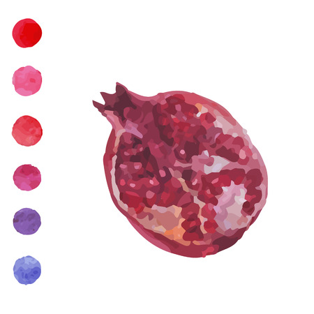 antioxidant: Beautiful watercolor hand drawn card. Element for cafe menu, business cards, wedding invitations, save the date cards. Fresh fruit watercolor pomegranate on a white background