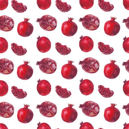新鮮なフルーツ、白地に水彩ザクロ。ベクターのシームレスなパターン。美しい水彩手描きテクスチャです。Web ページ、結婚式の招待状、ロマンチ  イラスト・ベクター素材