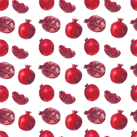 Fresh fruit watercolor pomegranate on a white background. Vector seamless pattern. Beautiful watercolor hand drawn texture. Romantic background for web pages, wedding invitations, save the date cards.