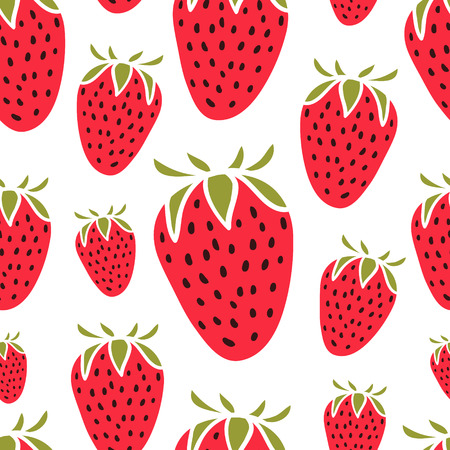 Cute pattern with strawberries on white background. Seamless pattern. Vector image.