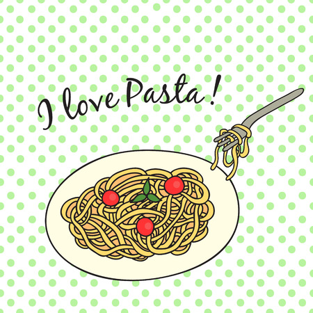 spaghetti bolognese: Card with pasta on the plate with tomatoes and basil. With an inscription I love pasta. In a retro style.