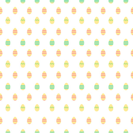warm colors: Seamless cute pattern in warm colors with Easter decoration eggs.
