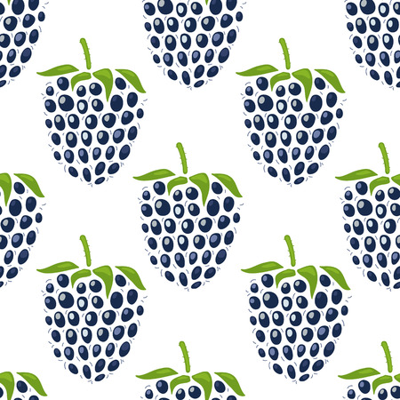 Cute pattern with mulberries on white background. Seamless pattern. Vector image. Vectores