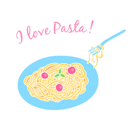 Card with pasta on the plate with tomatoes and basil. With an inscription I love pasta. Vector