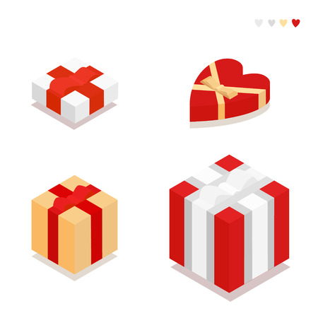 ribbons and bows: Set of gift boxes with ribbons and bows in the style of the flat. Vector Illustration