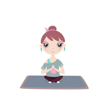 leggings: Young girl in a yoga pose on a mat  in a blue t-shirt with a picture of lotus in leggings Illustration