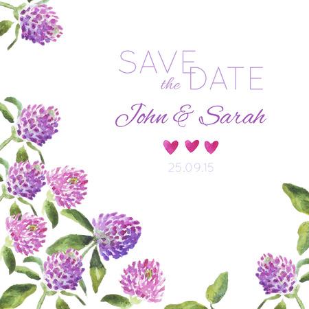 招待カードの手描き水彩をデザインします。結婚式招待状、チラシ、デザイン テンプレートは、日付カードを保存します。ベクトル花カード。