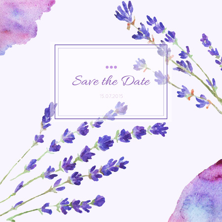 Design invitation card hand drawn watercolor. Template design for wedding invitations, flyers, save the date card. Vector floral card.