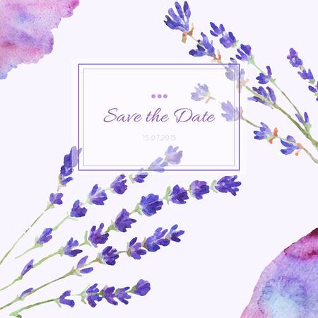 Ontwerp uitnodigingskaart hand getekende aquarel. Template ontwerp voor bruiloft uitnodigingen, flyers, sparen de datumkaart. Vector bloemen kaart. Stock Illustratie