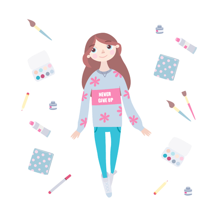 Young girl artist in hoodie, with the words