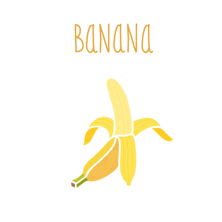 ripened: Vector hand drawn isolated banana with the inscription. Healthy lifestyle.  Eco friendly