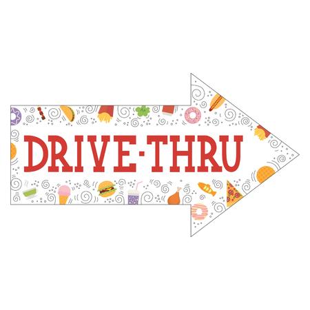 thru: Signboard, indicating, Drive Thru, isolated, on white background.