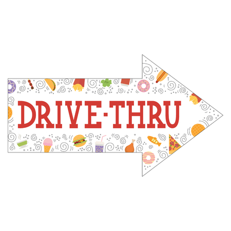 Signboard, indicating, Drive Thru, isolated, on white background.