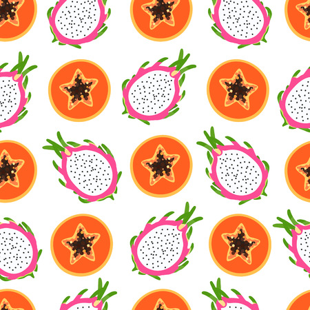Bright tropical pattern with papaya and dragon fruit, half of a sectional with seeds on a white background.