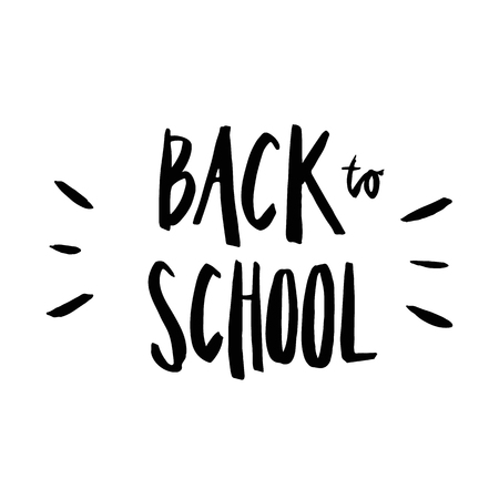 caligraphic: Back to School. The inscription hand drawing of black ink on a white background. Illustration