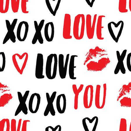 Vector hand-drawn pattern with elements: inscription love you, kiss ( imprint of lipstick), heart. Declaration of love for Valentines Day. It can be used for invitation cards, brochures, poster, t-shirts, mugs, wrapping paper etc.