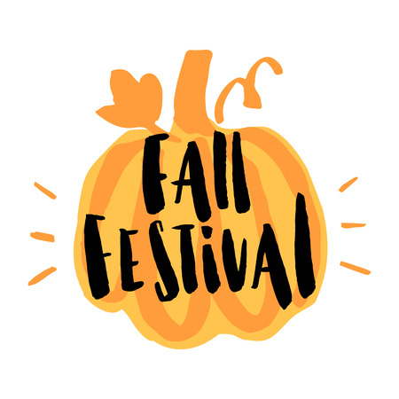 harvest time: Inscription Fall Festival with stylized pumpkin. The inscription  hand-drawing of black ink. Vector Image. It can be used for a site, article, invitation cards, brochures, poster, t-shirts, mugs etc. Illustration