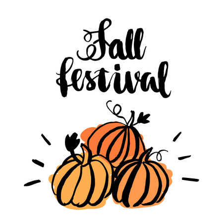 Fall Festival: Inscription Fall Festival with stylized pumpkin. The inscription  hand-drawing of black ink on a white background. Vector Image. It can be used for a site, article, invitation cards, brochures, poster, t-shirts, mugs etc.