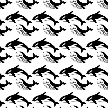 grampus: Whale and killer whale, hand-drawn ink. Black and white seamless pattern in marine style.