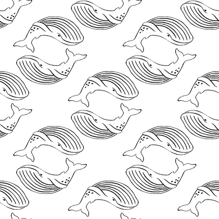 grampus: Whale hand-drawn ink. Black and white seamless pattern in marine style.