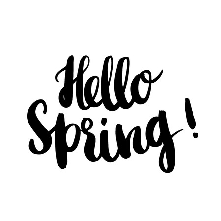 Hello Spring! The inscription hand-drawing of black ink on a white background. Vector Image. It can be used for website design, article, phone case, poster, t-shirts, etc.