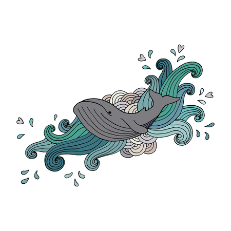 gray whale: Hand-drawing gray whale in abstract waves on white background. Vector illustration
