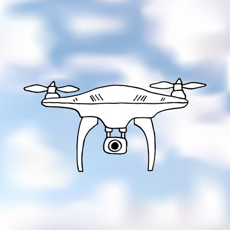 Drone quadrocopter on a realistic blue sky. Vector Image.