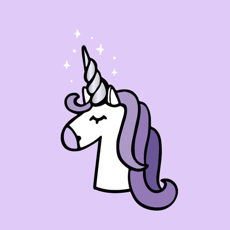 Unicorn with silver horn on a purple background. It can be used for website design, article, phone case, poster, t-shirt, mug etc.