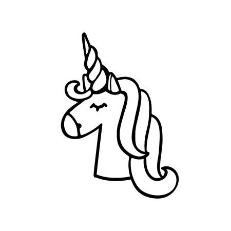 Unicorno di inchiostro nero su sfondo bianco. Può essere utilizzato per la progettazione di siti Web, articoli, custodie per telefoni, poster, t-shirt, tazze ecc. Archivio Fotografico - 71842213