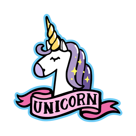 Unicorn with pink ribbon on a white background. It can be used for sticker, badge, card, patch, phone case, poster, t-shirt, mug etc.