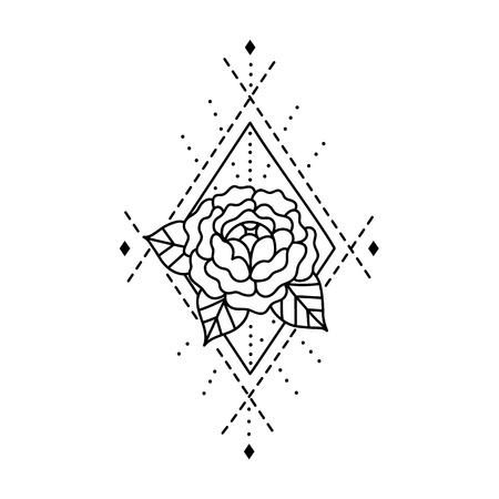 Tatuaje De Blackwork Del Ramo De Rosas Y Plumas Ilustración