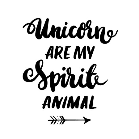 %u0421ard with inscription Unicorn are my spirit animal!  in a trendy calligraphic style. Illustration