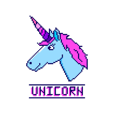 Unicorn head with inscription in the eight bit style on a white background. It can be used for sticker, badge, card, patch, phone case, poster, t-shirt, mug etc. Illustration