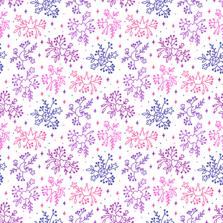 Floral seamless pattern with elements leaves, flowers, cloud, moon, crown, diamond, and more.