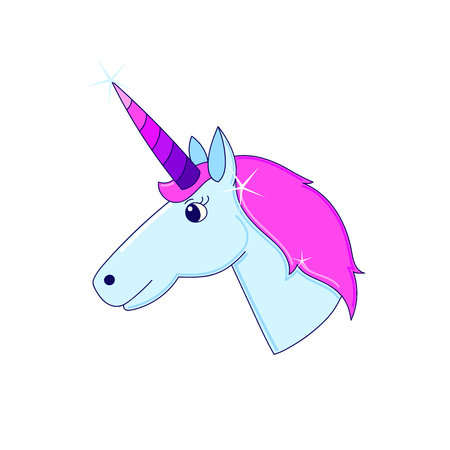 Unicorn with horn on a white background. It can be used for sticker, badge, card, patch, phone case, poster, t-shirt, mug etc. Illustration