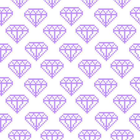 Seamless pattern with a purple daimond on a white background.  It can be used for packaging, wrapping paper, textile, phone case etc. Illustration