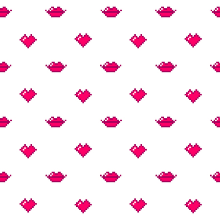 Cute seamless pattern of red hearts and lips on a white background. Illustration
