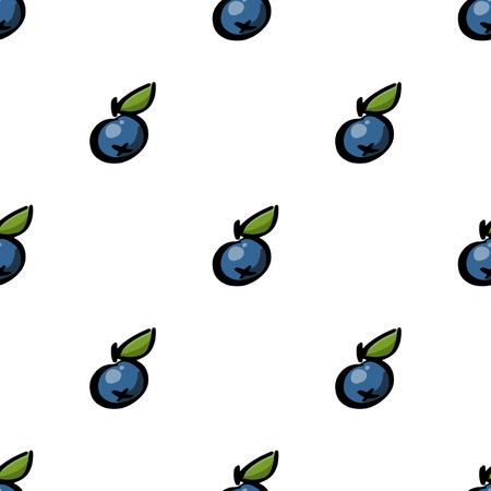 白い背景の上のブルーベリーとのシームレスなパターン。それは包装; に使用されることができます。包装紙。繊維等
