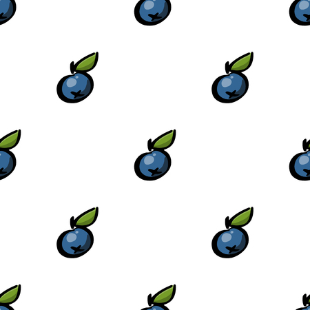Seamless pattern with blueberry on a white background. It can be used for packaging; wrapping paper; textile and etc. Ilustracja