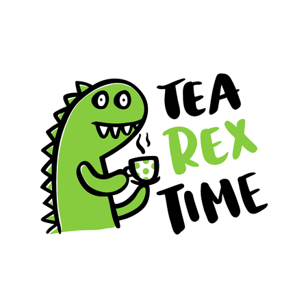 The comic inscription Tea rex time and a cartoon little funny dinosaur.  It can be used for card, mug, brochures, poster, t-shirts, phone case etc. Vector Image.