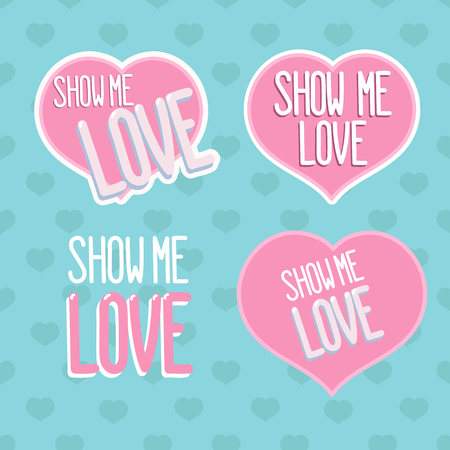 "Set inscripties ""Show me love"" op een blauw patroon met harten. Stock Illustratie"