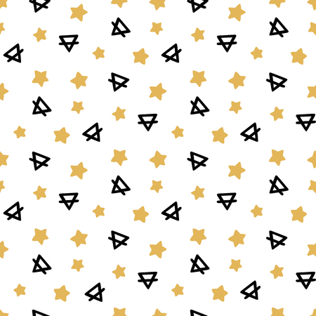A Seamless pattern in memphis style, with geometric elements stars and triangle, on a white background. It can be used for packaging, wrapping paper, textile and etc. Stock Vector - 80951835