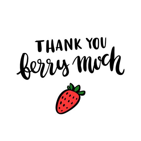 """만화 비문 """"감사합니다 베리 많이""""와 딸기 일러스트"""