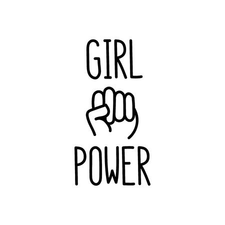 """La citazione """"potere della ragazza"""" con il pugno chiuso di immagini."""