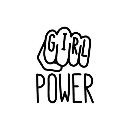 """Das Zitat """"Mädchen Macht"""" mit Bild weiblich geballte Faust. Vektorgrafik"""
