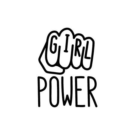 """Het citaat """"girl power"""" met afbeelding gebalde vuist. Vector Illustratie"""