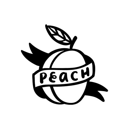 Peach and ribbon with a calligraphic inscription peach handwritten of black ink on a white background. Illustration