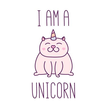 The quote I am a unicorn, hand-drawing of black ink. With cute image of a cat with a horn unicorn.  It can be used for sticker, patch, phone case, poster, t-shirt, mug etc. Illustration